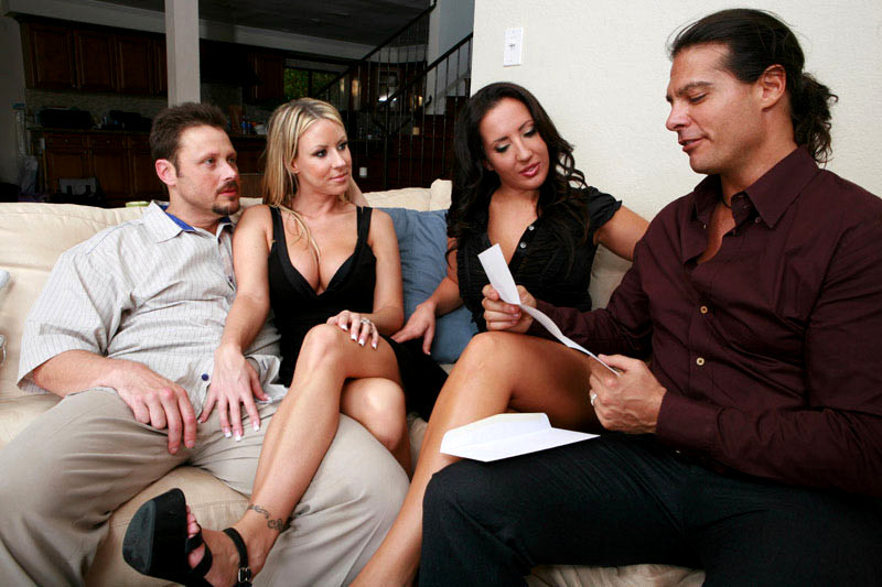 Three swinger wives and one lucky guy orgy sex porn pics
